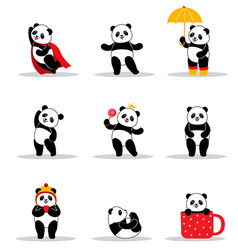 Set of cartoon funny pandas vector