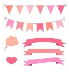 set of pink flat buntings garlands ribbons vector image