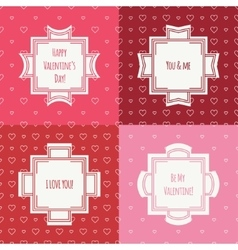 Set of red pink romantic seamless pattern with vector image