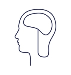 Silhouette side head with brain vector