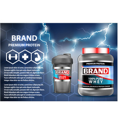 Sport nutrition product containers ad weight vector