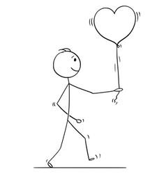 stick character cartoon of loving man walking vector image