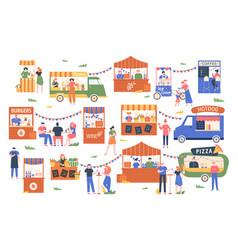 Street food marketplace outdoor farmers market vector