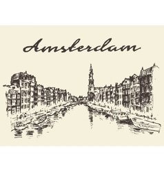Streets Amsterdam drawn sketch vector