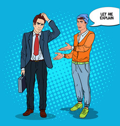 stylish teenager talking with businessman pop art vector image