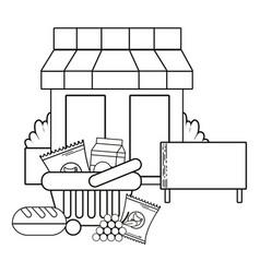 Supermarket exterior cartoon vector