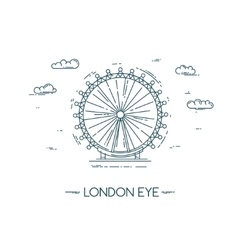 The London Eye flat line vector