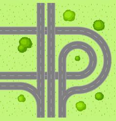 Top view of road junction vector