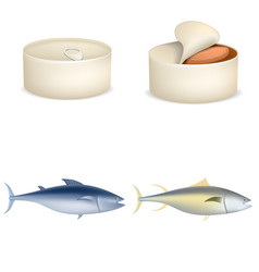 tuna fish can steak icons set realistic style vector image