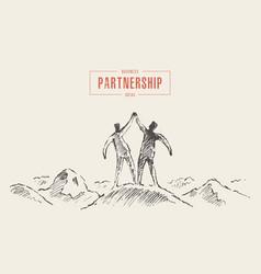 Two success mountain holding hands teamwork vector