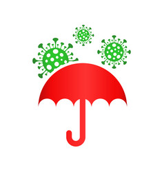 Umbrella safe from covid-19 icon design style on vector