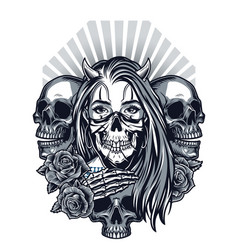 Vintage chicano style tattoo concept vector