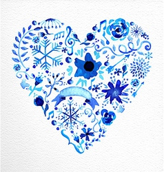 Watercolor heart love shape vector