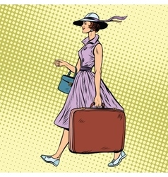 Woman traveler with suitcase vector