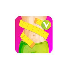 Women slim waist with measure tape around - weight vector