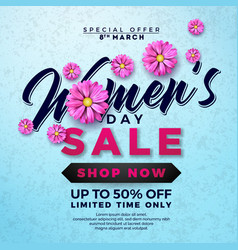 Womens day sale design with beautiful colorful vector