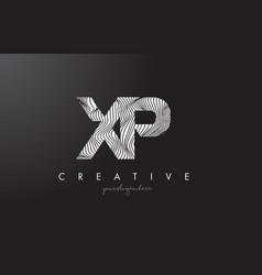 Xp x p letter logo with zebra lines texture vector