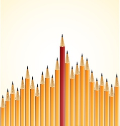 Yellow pencils and one red crayon standing out vector