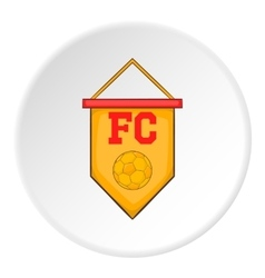 Yellow pennant with soccer ball icon cartoon style vector image