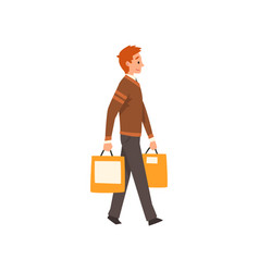 young man walking with shopping bags man vector image