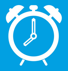 Alarm clock icon white vector