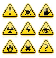 Danger risk warning modern traingle signs set vector image vector image