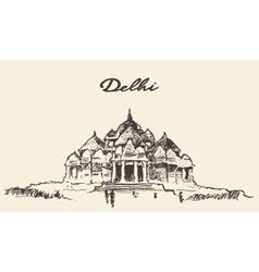 Delhi Akshardham Temple drawn sketch vector image vector image