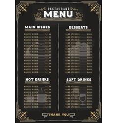 Luxury food menu on chalkboard background vector image