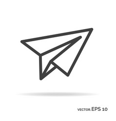 paper plane outline icon black color vector image
