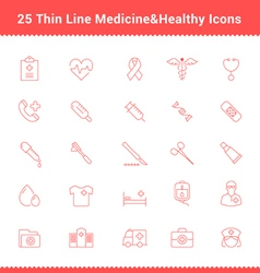 Set of Thin Line Stroke Medical Icon vector image vector image