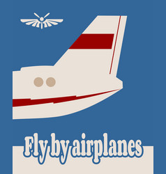 vertical banner with the image of an airplane tail vector image vector image
