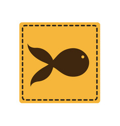 yellow emblem fish icon vector image