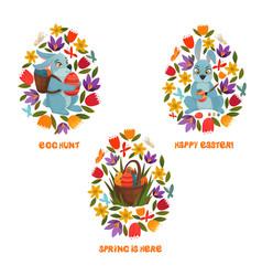 easter egg hunt spring flowers composition vector image