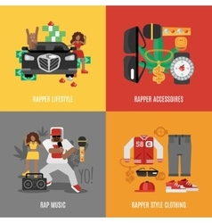 Rap Music Flat Set vector image