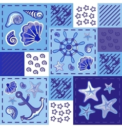 Seamless marine pattern in patchwork style with vector image