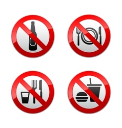 set prohibited signs - cafe vector image