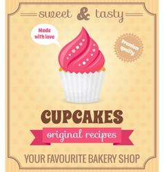 Cupcake retro poster vector image