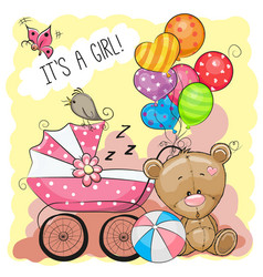 greeting card it is a girl with baby carriage vector image vector image