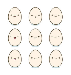 Happy easter eggs set kawaii eggs with cute faces vector