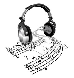 headphones sheet music notes concept vector image