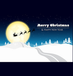 merry christmas with santa silhouette on the moon vector image