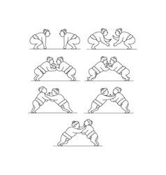 rikishi sumo wrestlers wrestling mono line vector image
