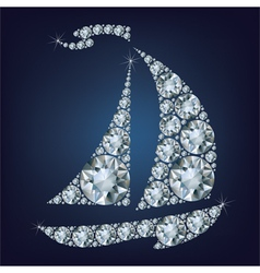 Ship made up a lot of diamonds vector image vector image