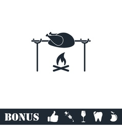 Skewer Chicken icon flat vector image vector image