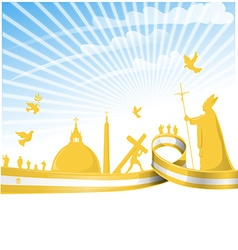 vatican city flag on background vector image vector image