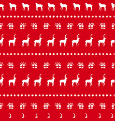 christmas red deer doodle decoration background vector image