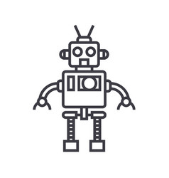 cool robot line icon sign on vector image