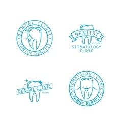 Dental clinic line logo templates vector image vector image