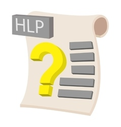 HLP extension text file icon cartoon style vector image vector image