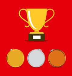 medals icons set with gold winning cup vector image